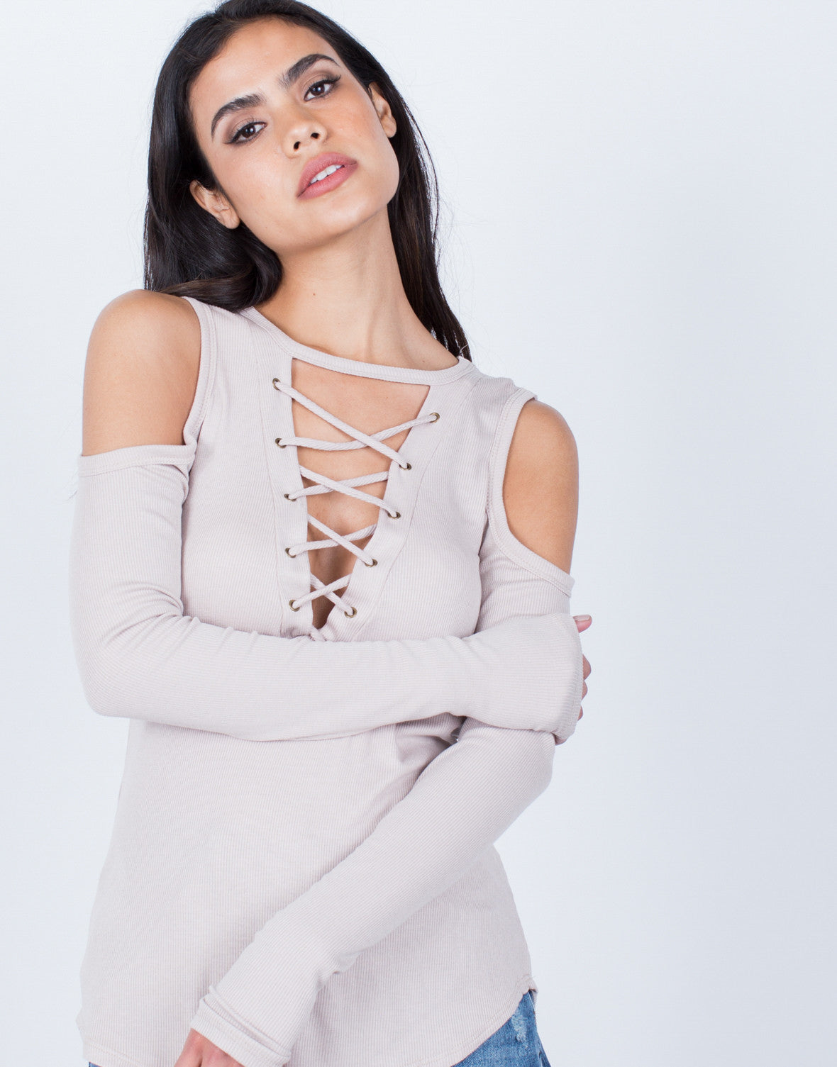 Detail of Ribbed Cold Shoulder Top