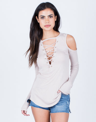 Front View of Ribbed Cold Shoulder Top