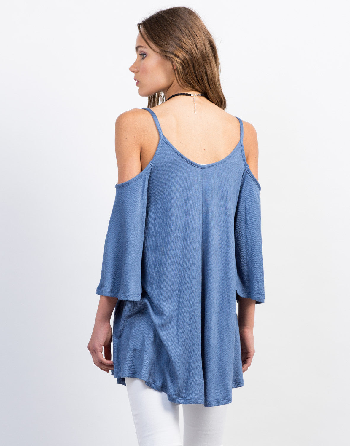 Back View of Ribbed Cold Shoulder Tunic Tank