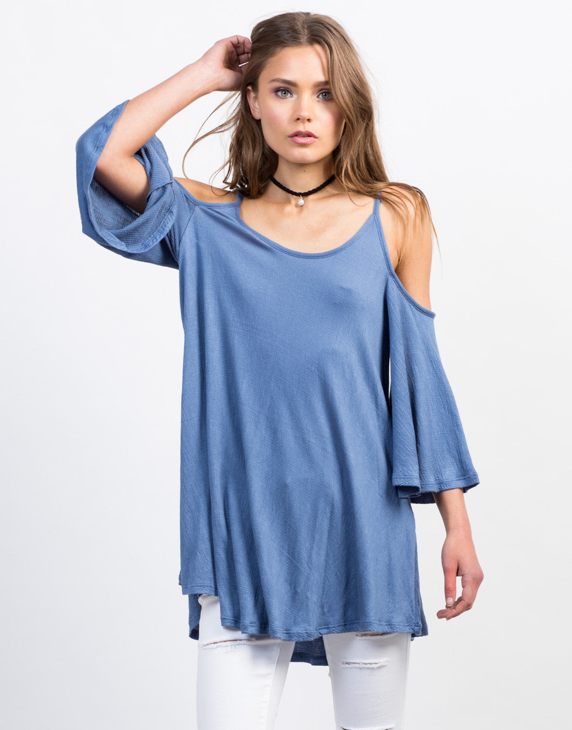 Front View of Ribbed Cold Shoulder Tunic Tank