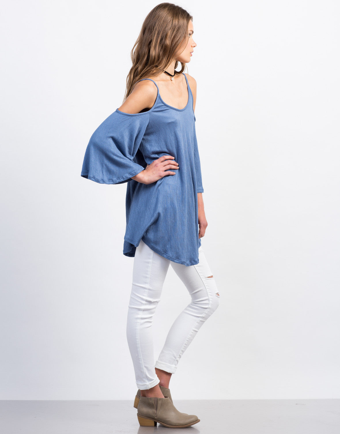 Side View of Ribbed Cold Shoulder Tunic Tank