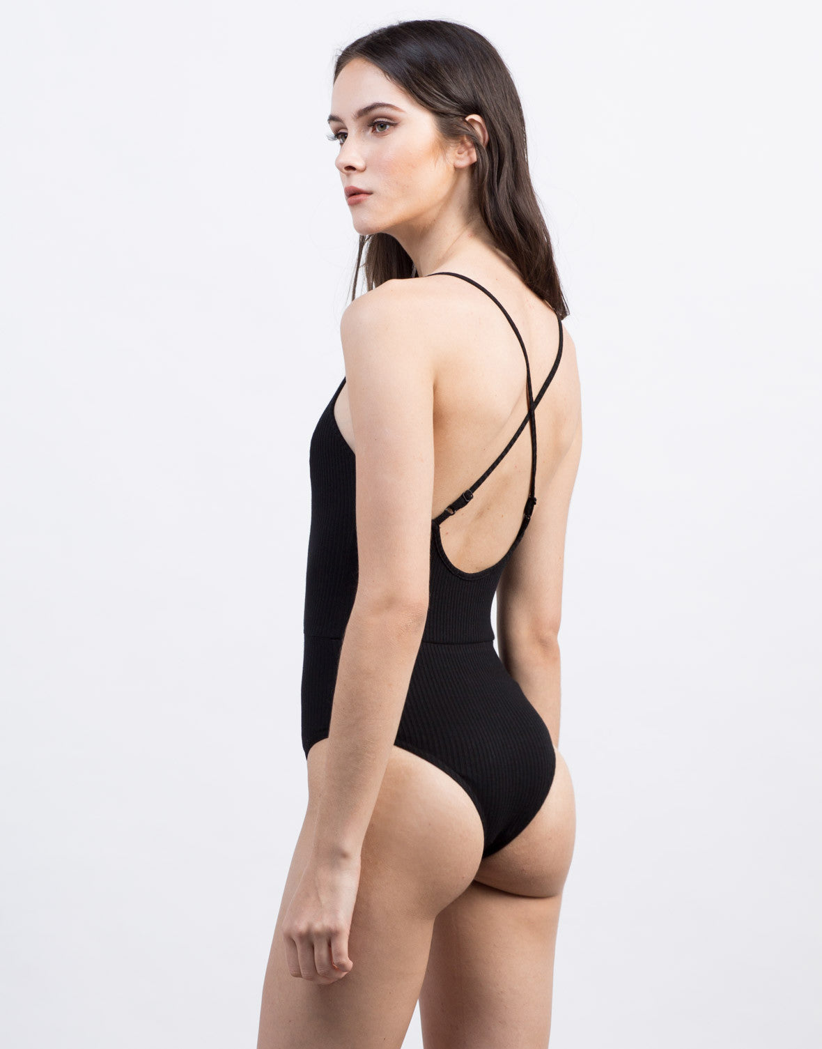 Back View of Ribbed Criss Cross Bodysuit