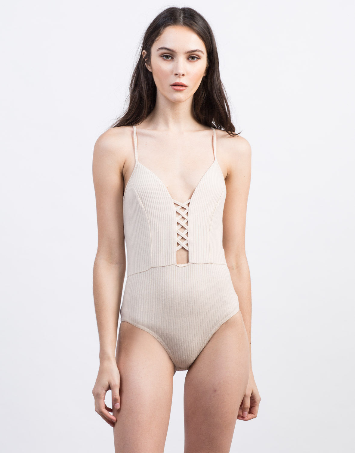 Front View of Ribbed Criss Cross Bodysuit