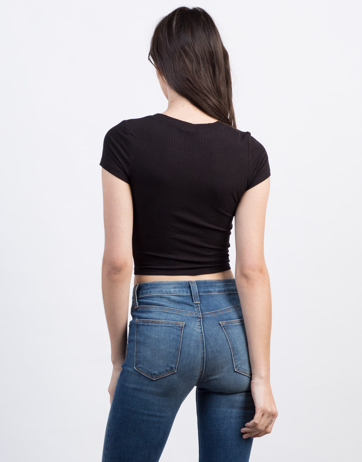 Back View of Ribbed Cropped Tee