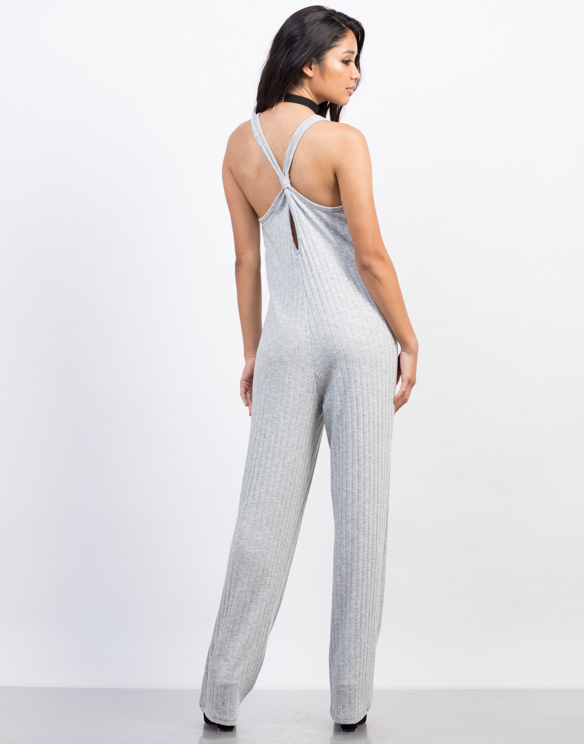 Back View of Ribbed Cross Back Jumpsuit