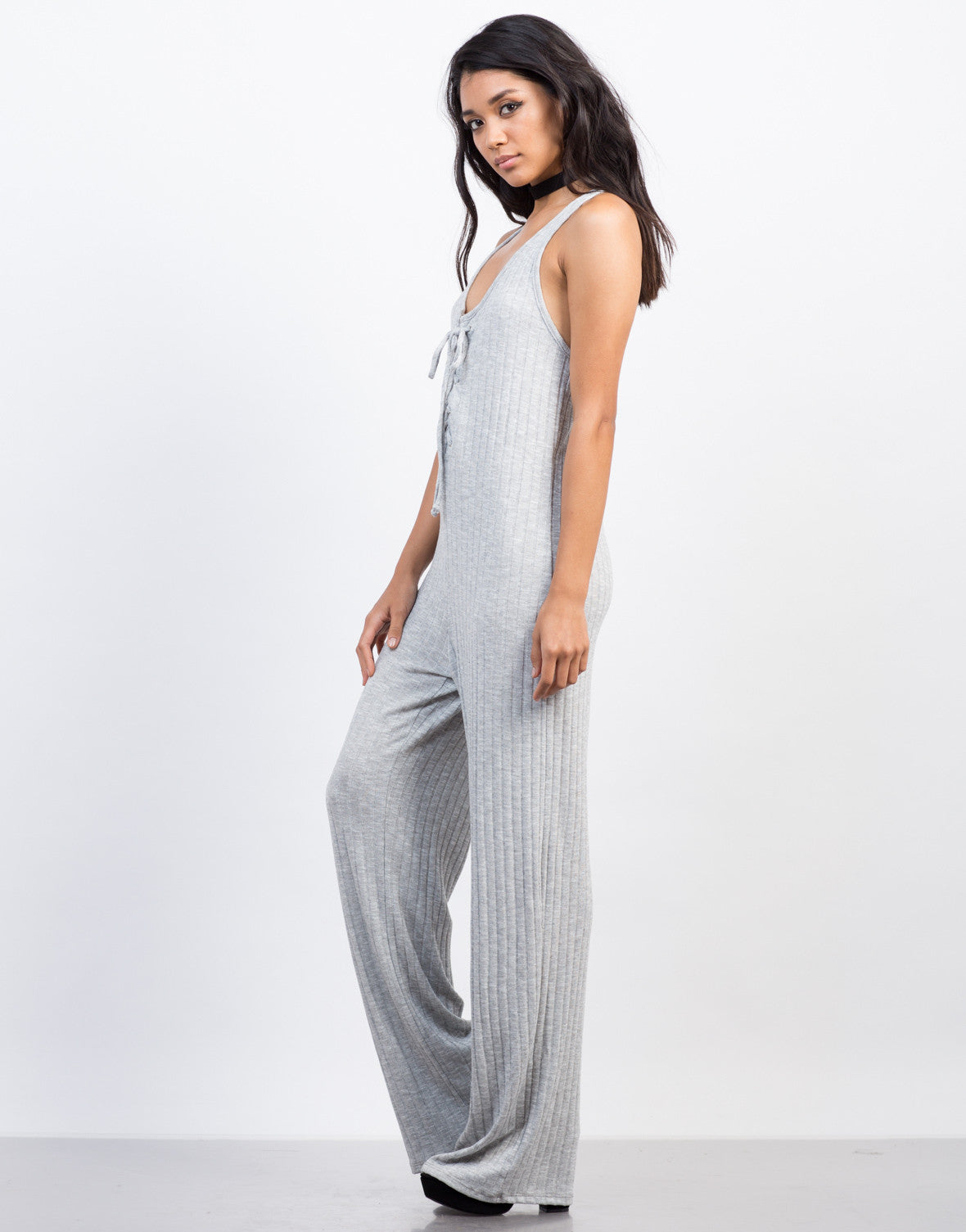 Side View of Ribbed Cross Back Jumpsuit