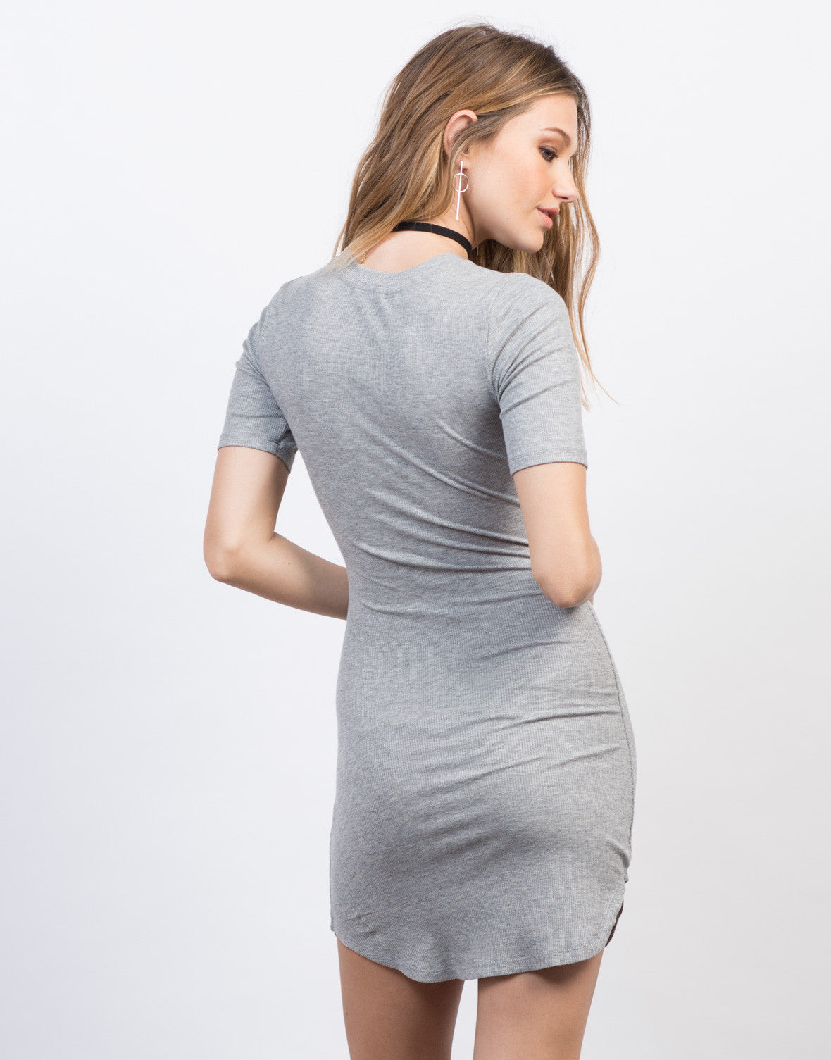 Back View of Ribbed Curve Hem T-Shirt Dress