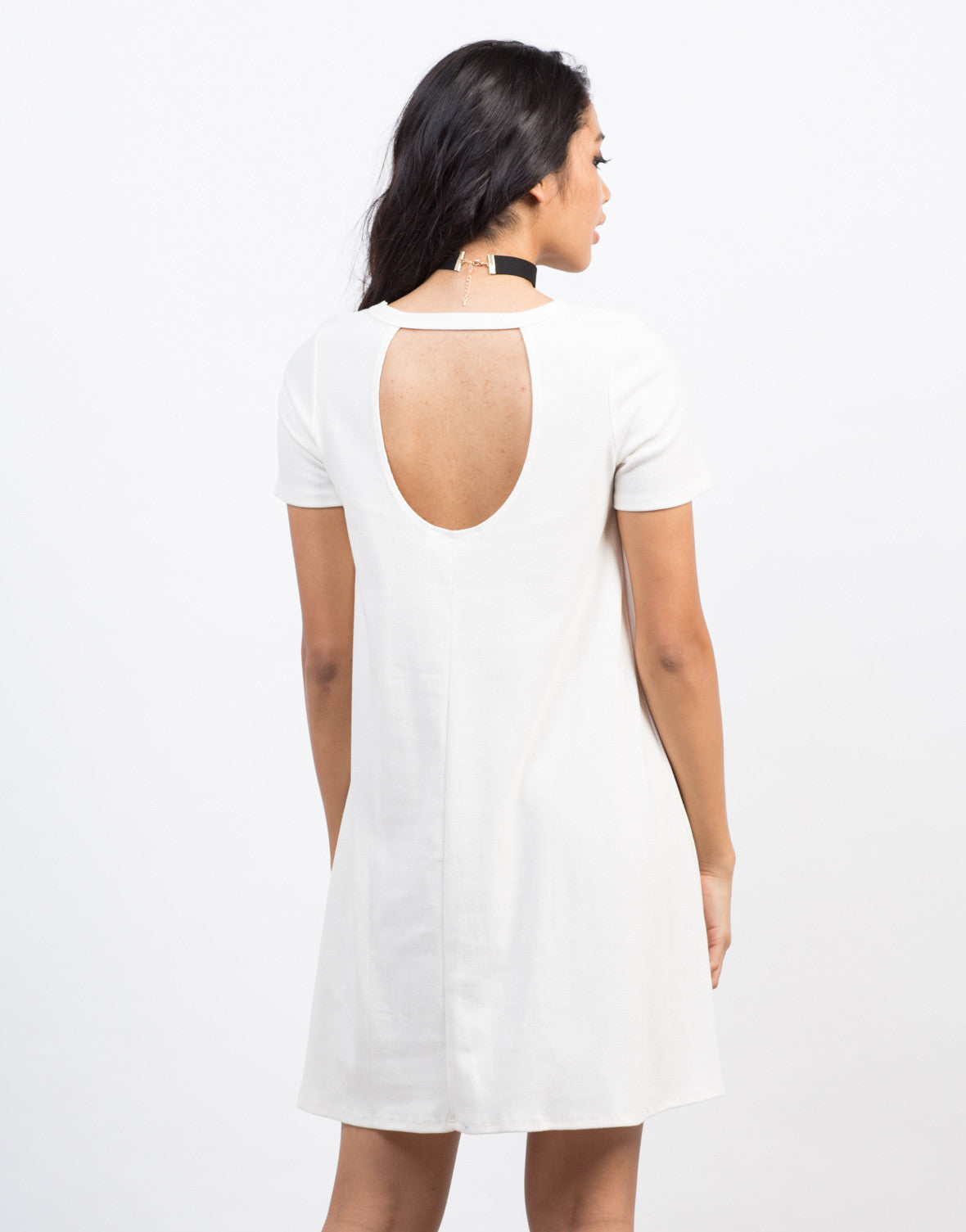 Back View of Ribbed Cut Out Dress