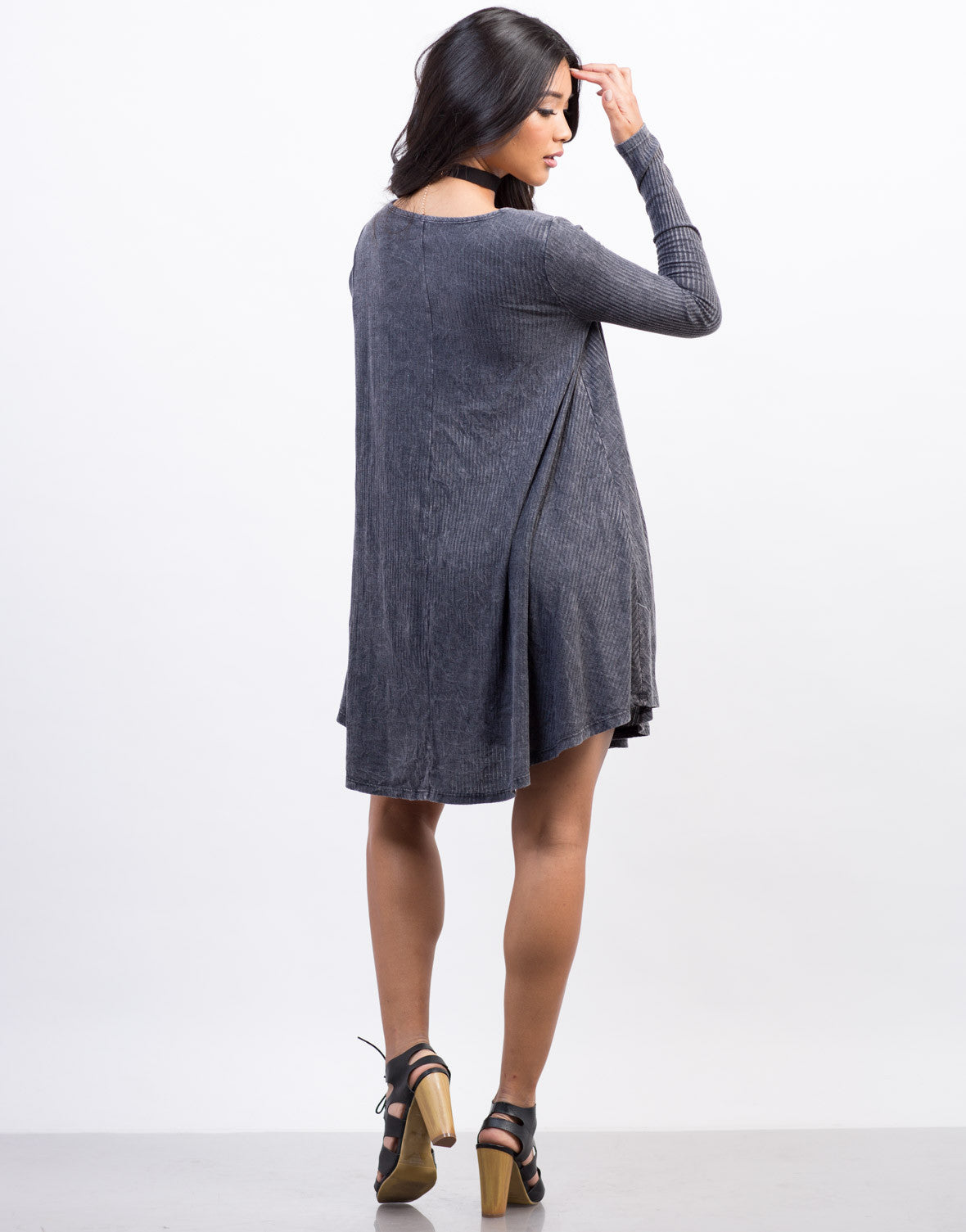 Back View of Ribbed Day Dress