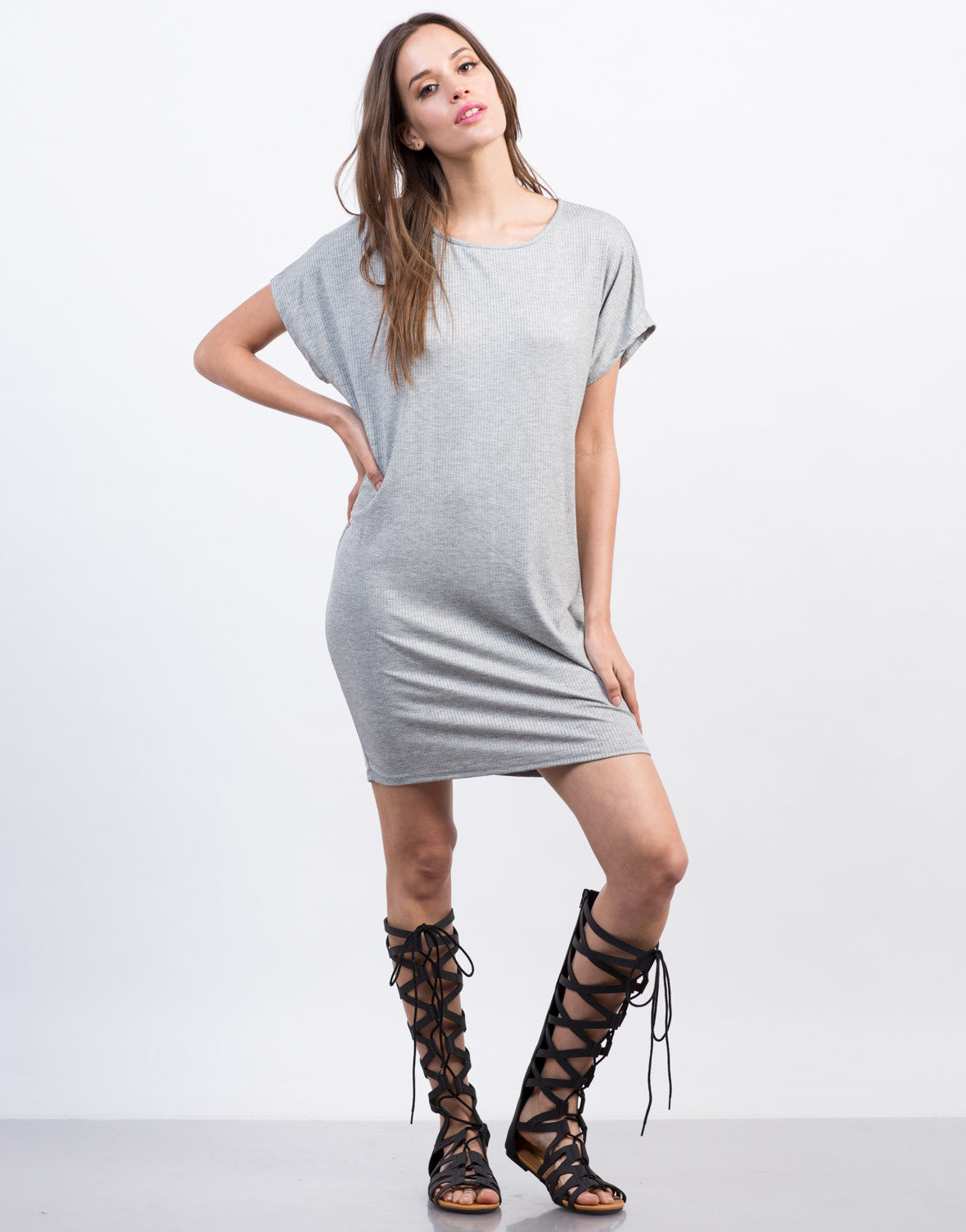 Front View of Ribbed Dolman Dress