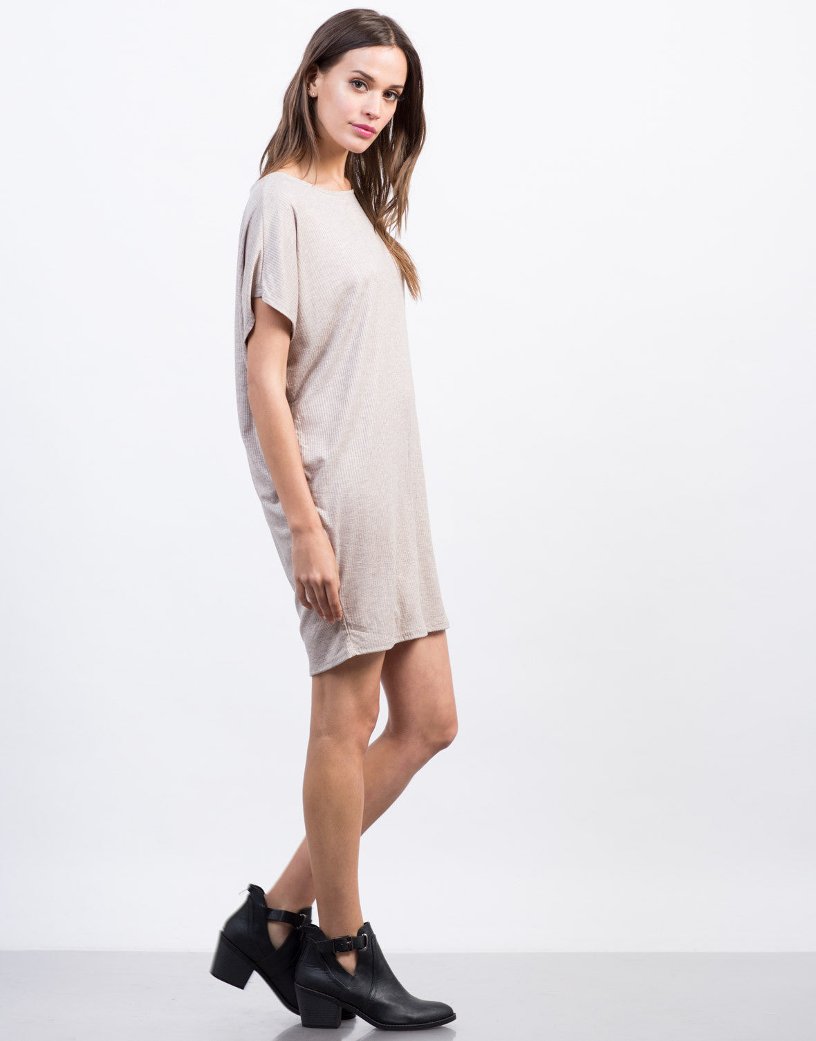 Side View of Ribbed Dolman Dress