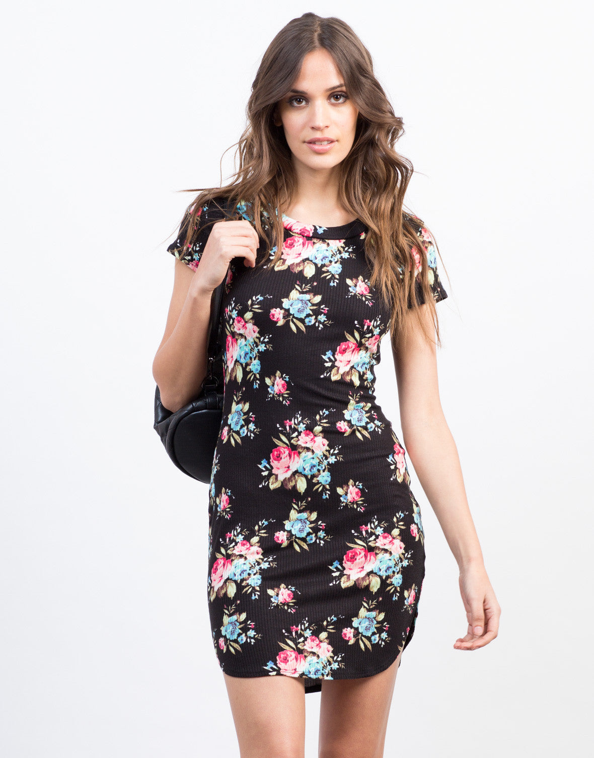 Front View of Ribbed Floral Dress