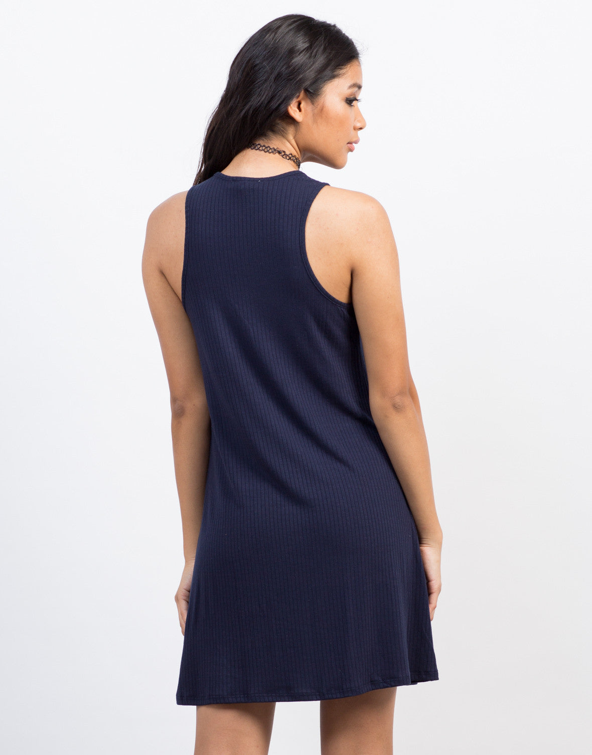 Back View of Ribbed Flowy Tank Dress