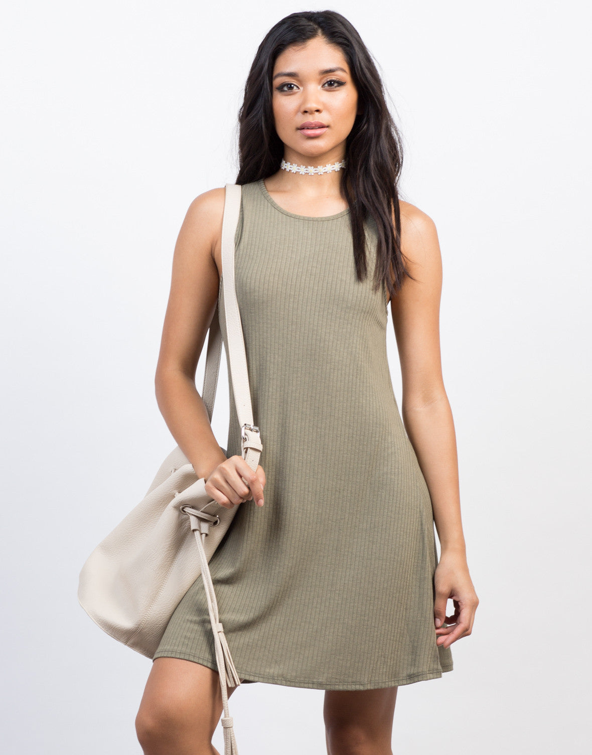 Front View of Ribbed Flowy Tank Dress