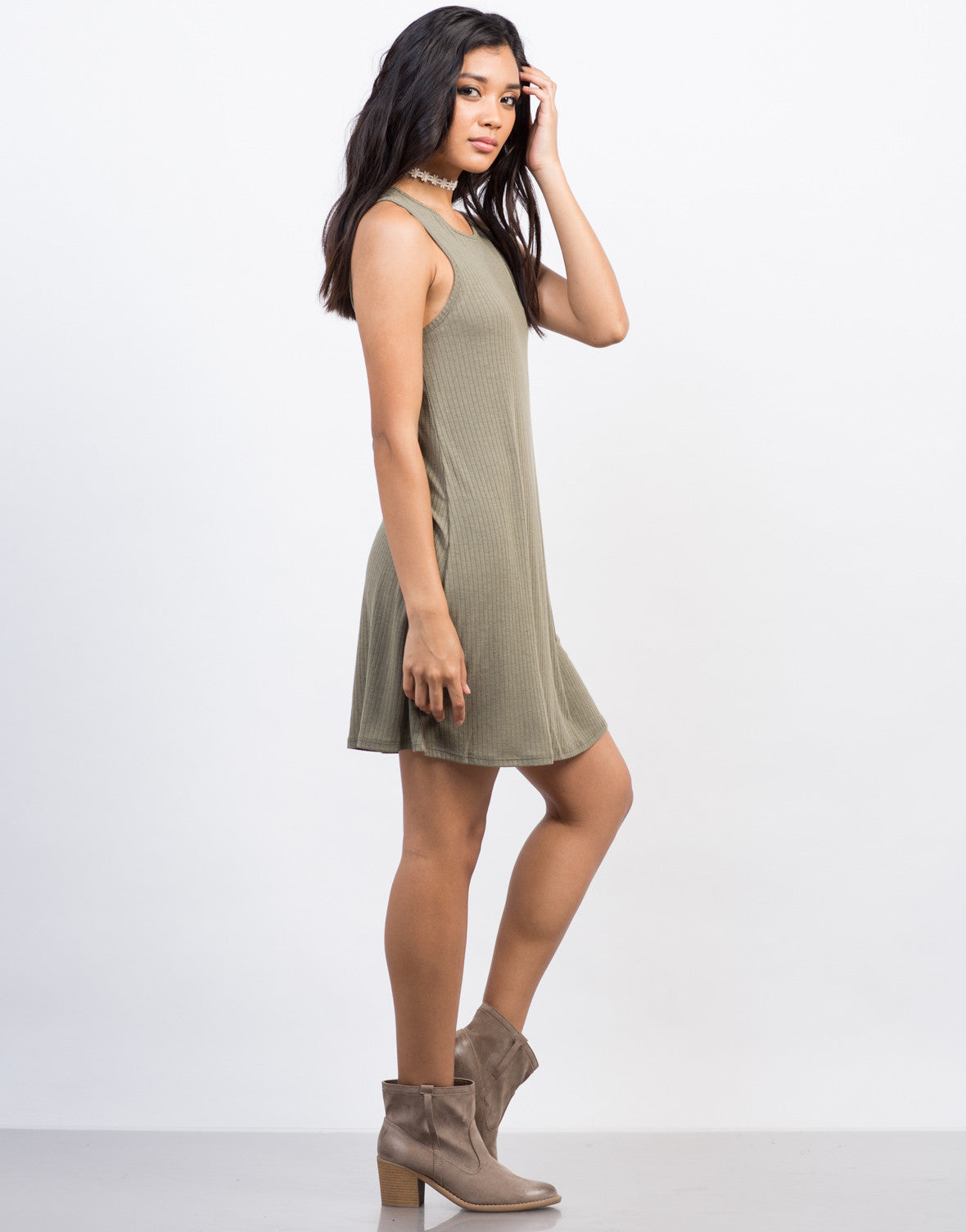 Side View of Ribbed Flowy Tank Dress