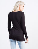 Back View of Ribbed Henley Top