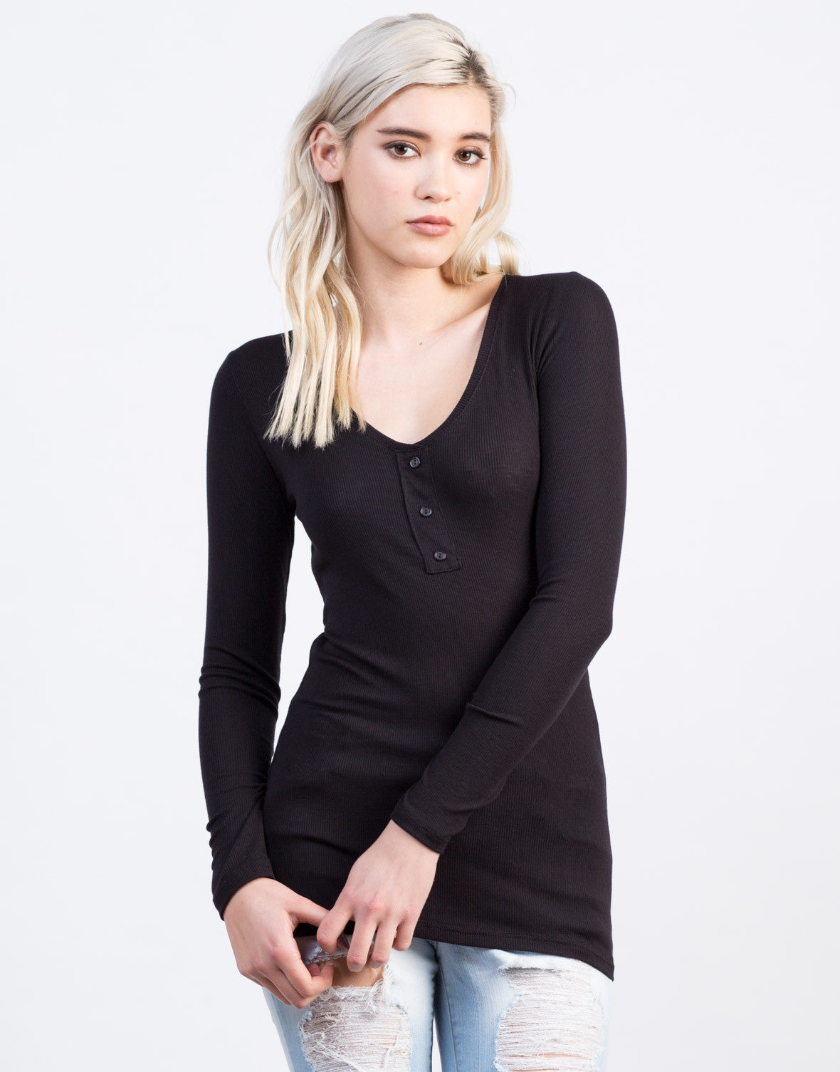 Front View of Ribbed Henley Top