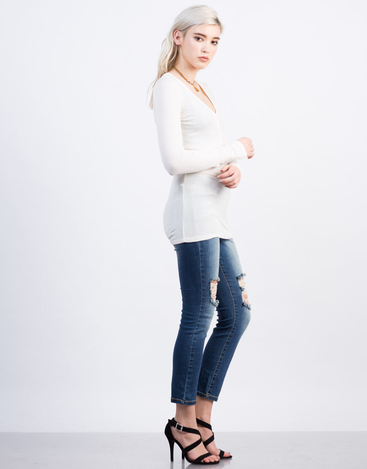 Side View of Ribbed Henley Top