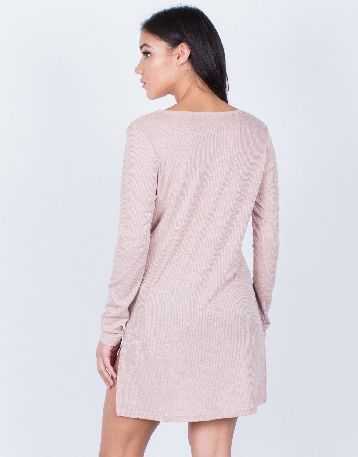 Back View of Ribbed Hi-Low Tunic