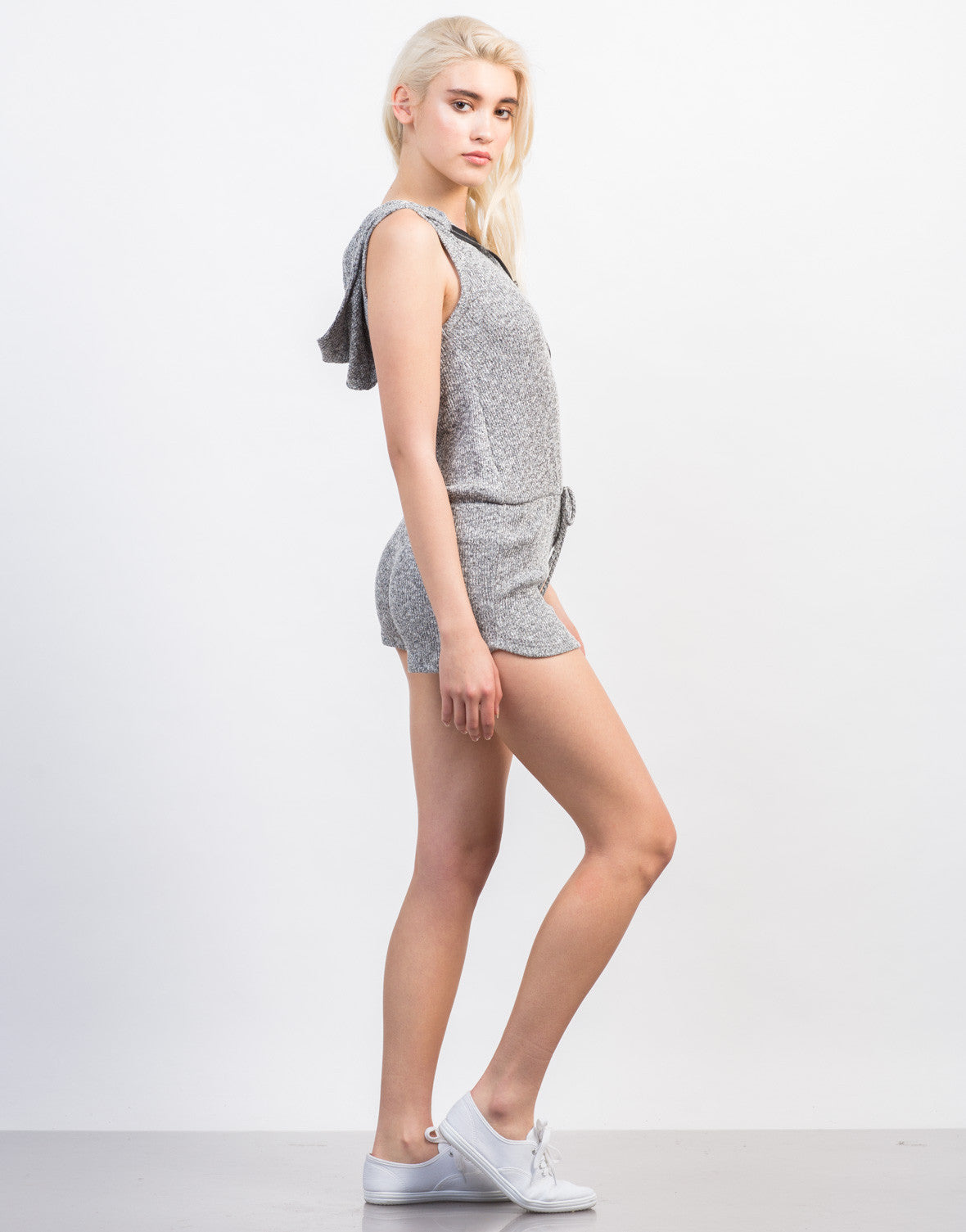 Side View of Ribbed Hoodie Romper