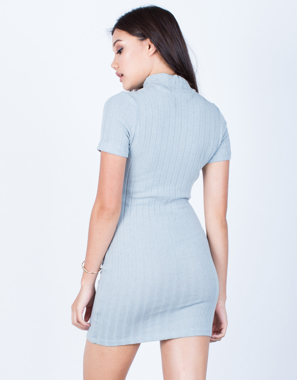 Back View of Ribbed Knit Bodycon Dress