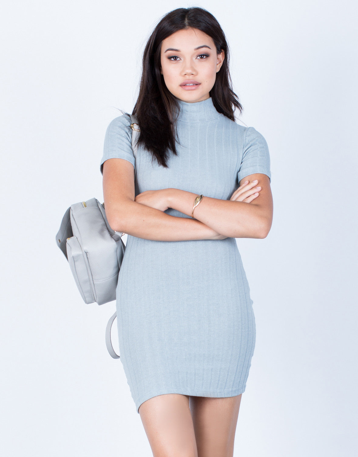 Front View of Ribbed Knit Bodycon Dress