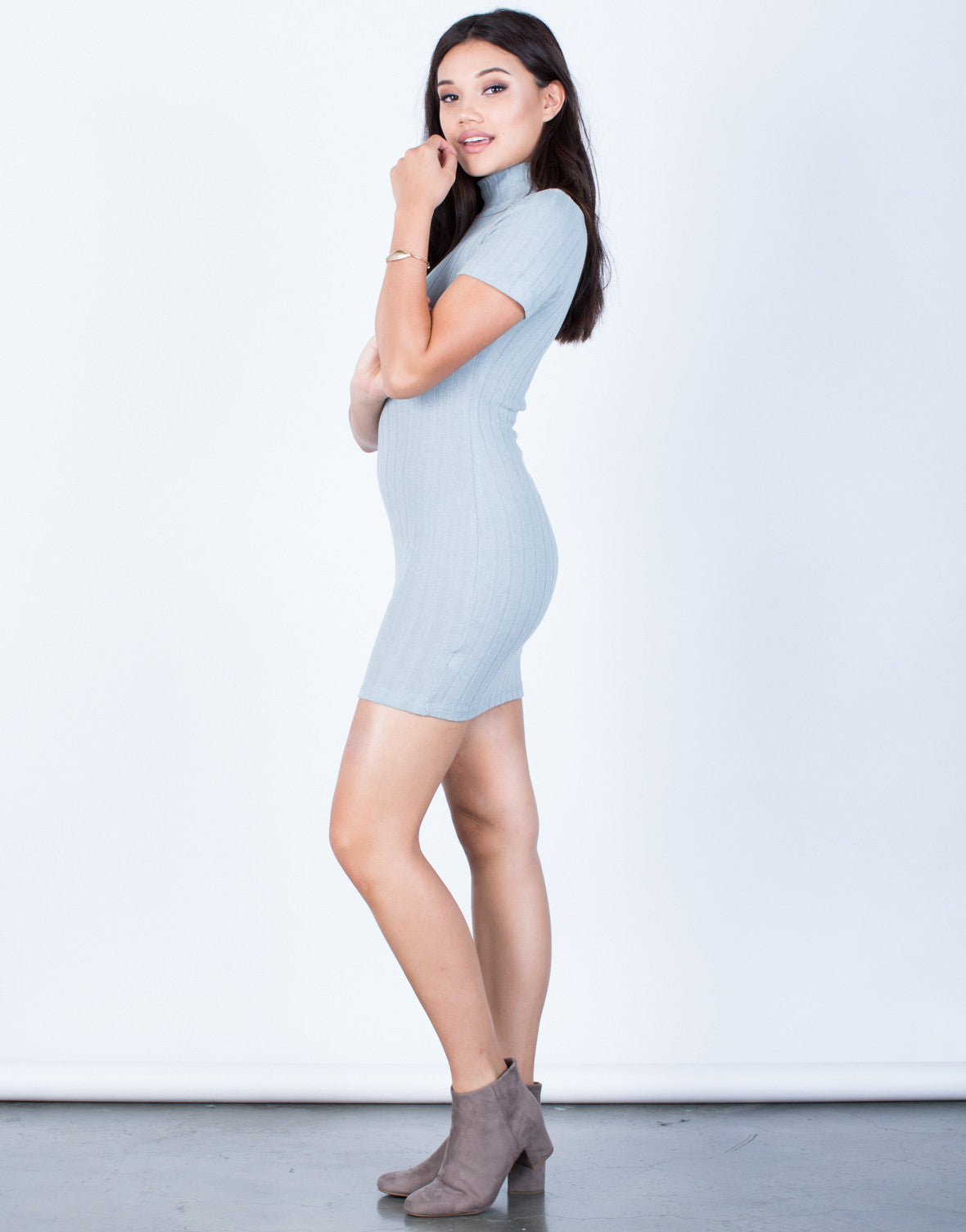 Side View of Ribbed Knit Bodycon Dress