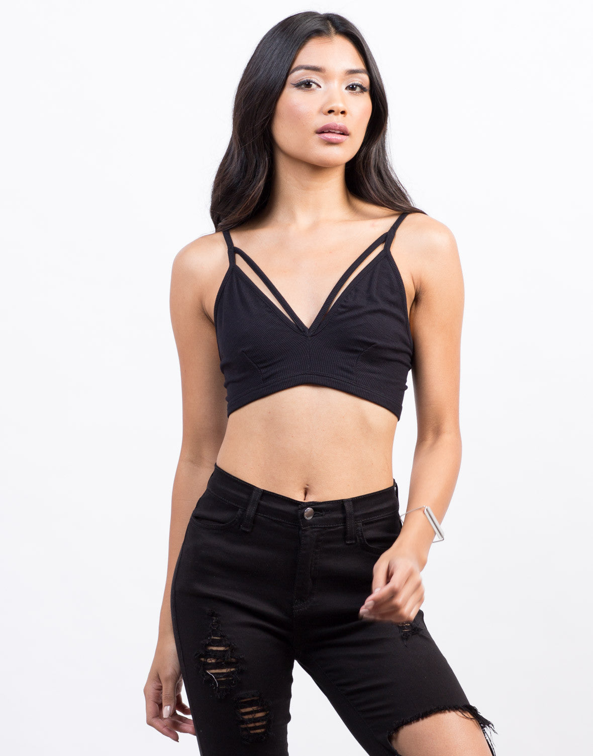 Front View of Ribbed Knit Bralette Top