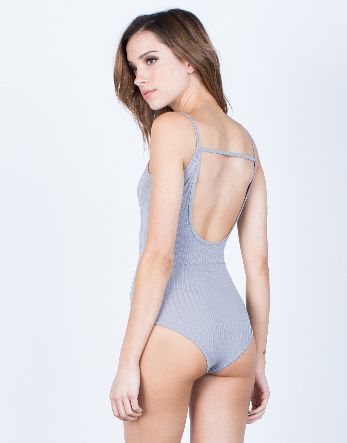 Back View of Ribbed Knit Criss Cross Bodysuit