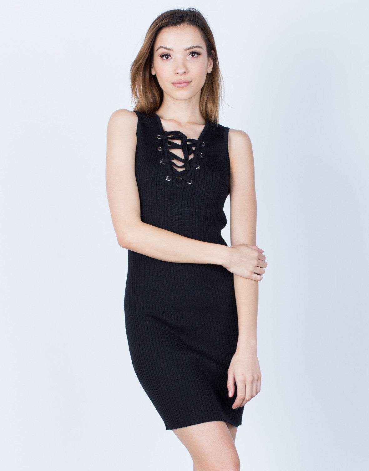 Front View of Ribbed Knit Lace-Up Dress