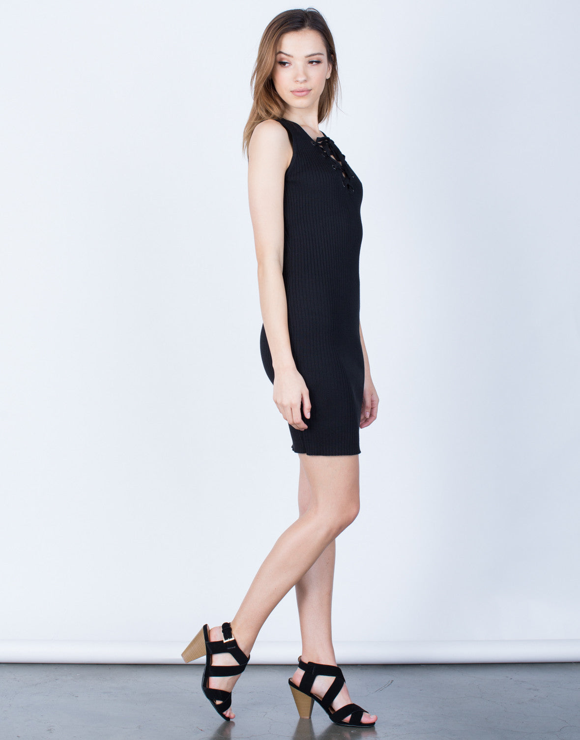 Side View of Ribbed Knit Lace-Up Dress