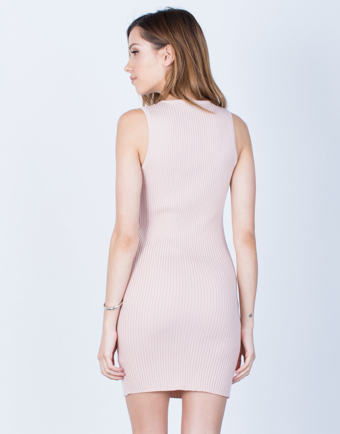 Back View of Ribbed Knit Lace-Up Dress