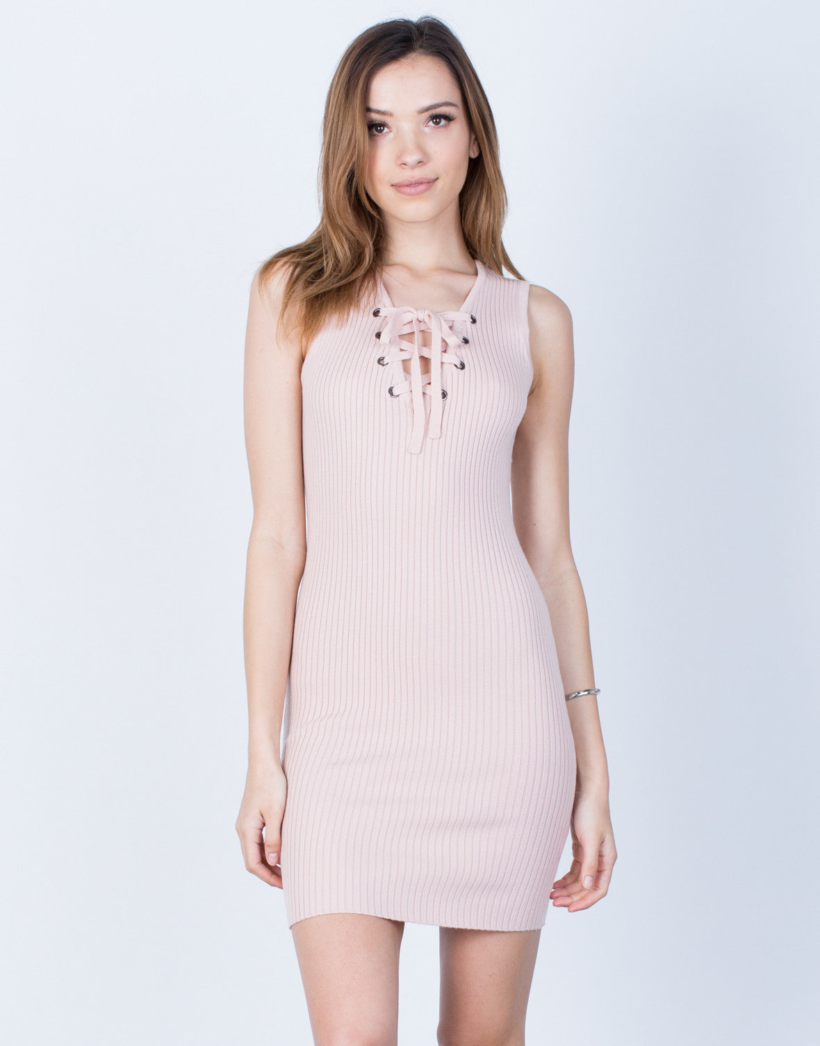 Ribbed Knit Lace-Up Dress - Lace Up Party Dress - Ribbed Bodycon ... 3be2a1496