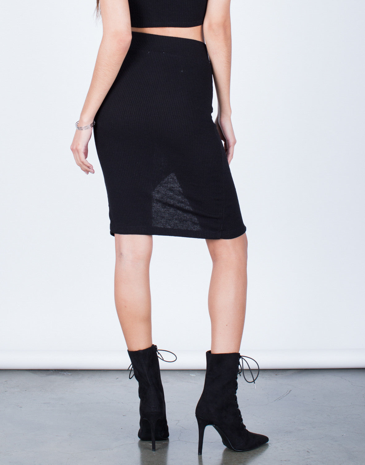 Back View of Ribbed Knit Lace-Up Skirt