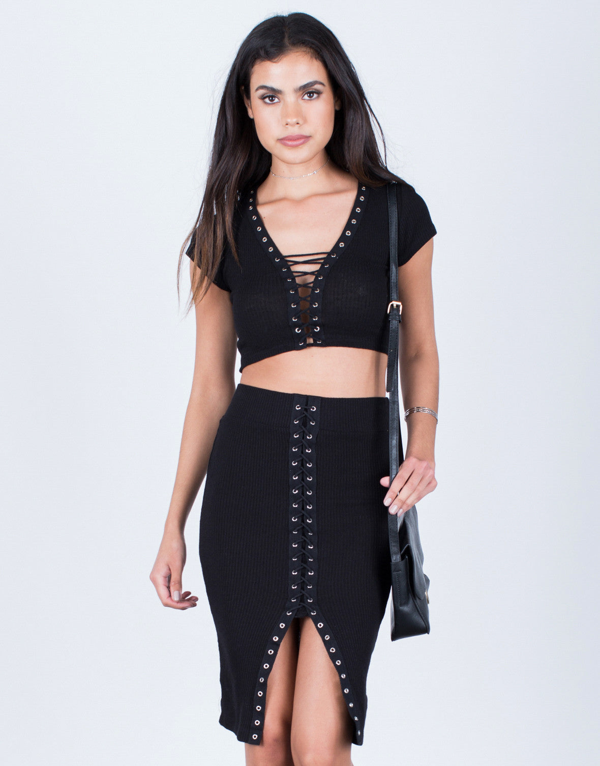 Ribbed Knit Lace-Up Skirt