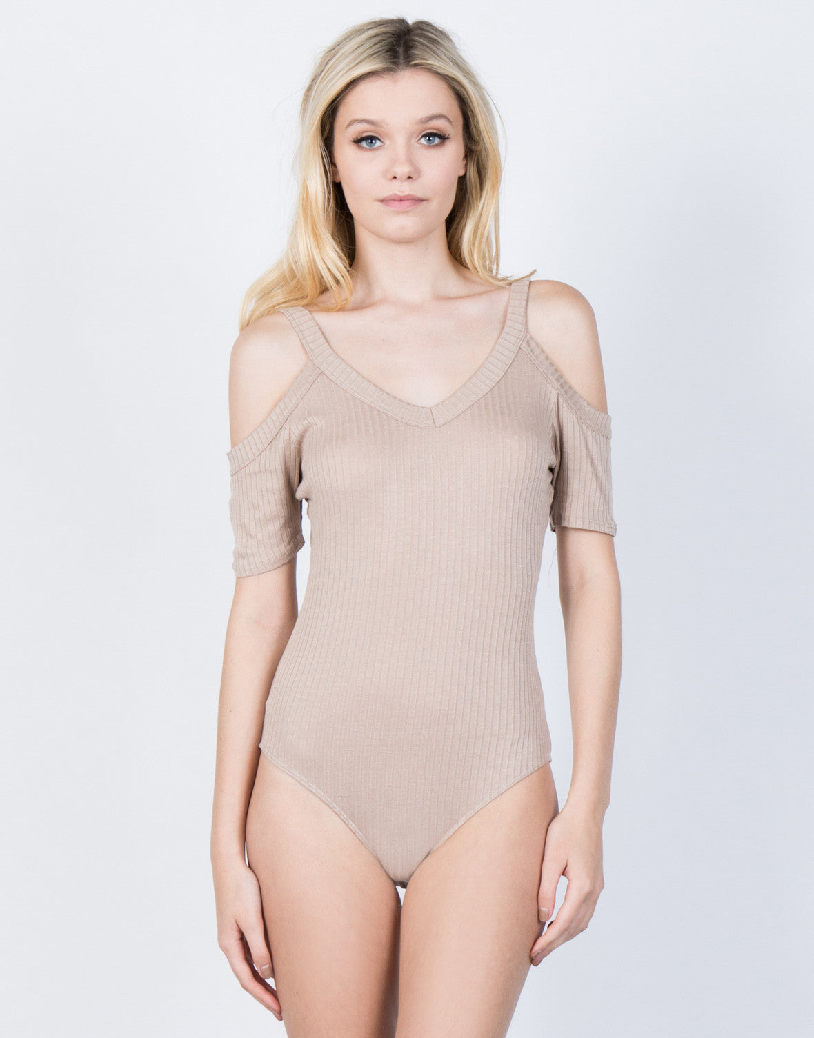 Front View of Ribbed Lines Bodysuit