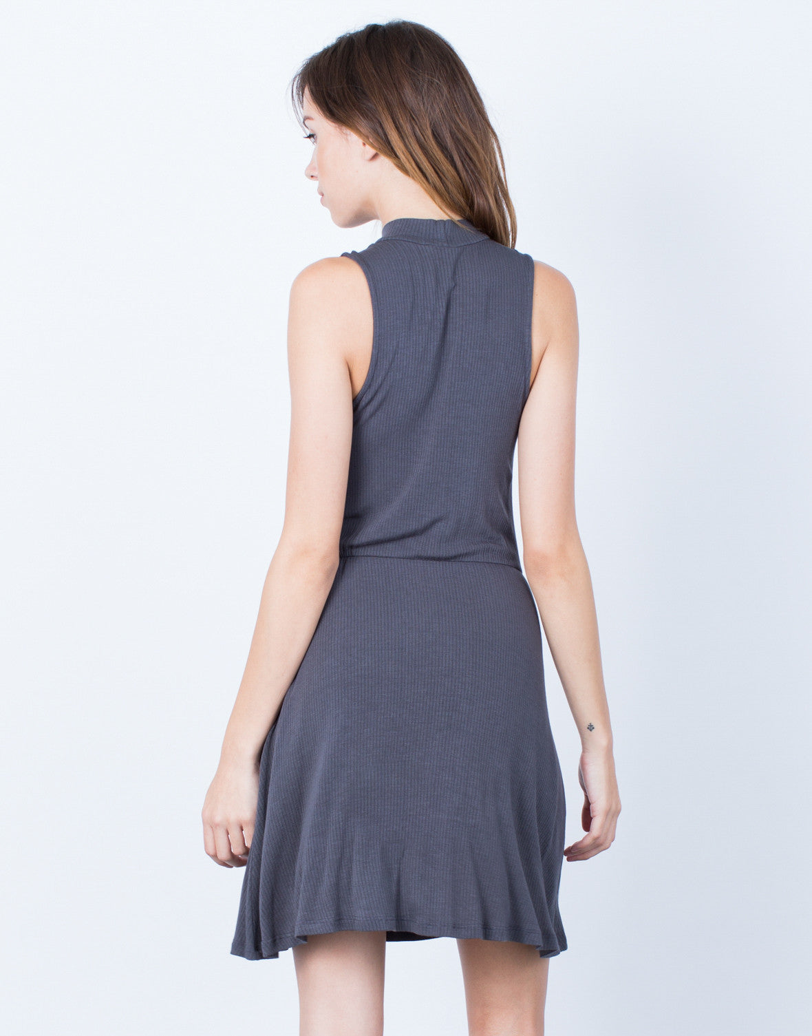Back View of Ribbed Mock Neck Dress