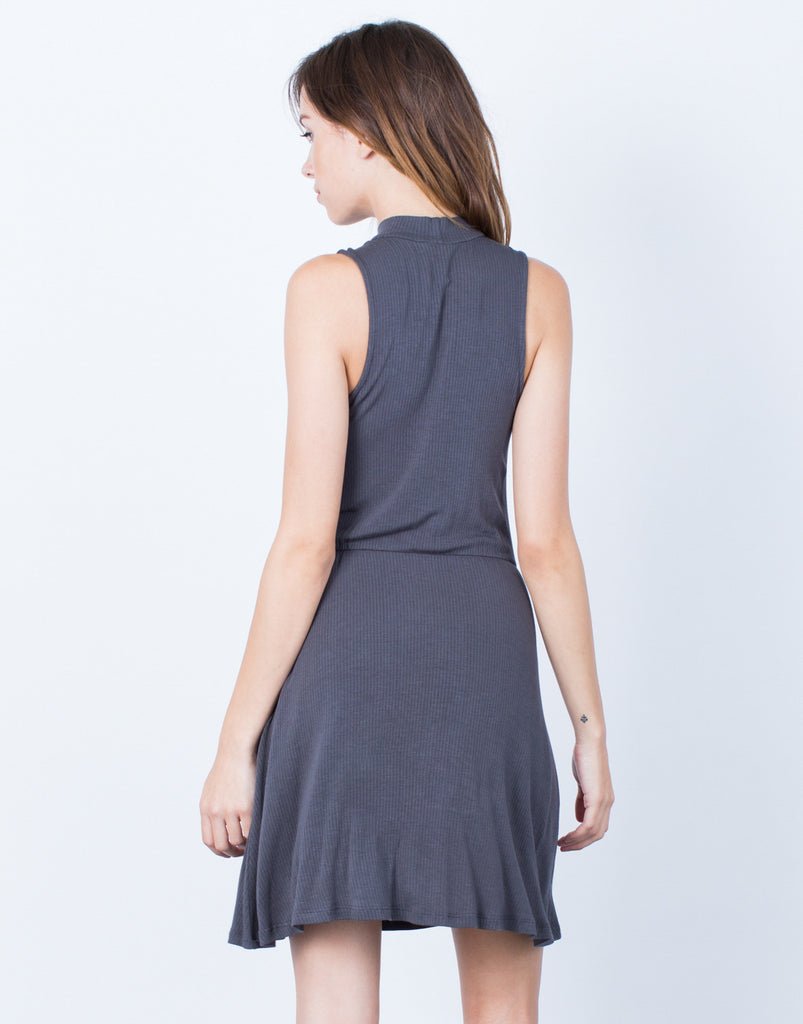 Ribbed Mock Neck Dress - 2020AVE
