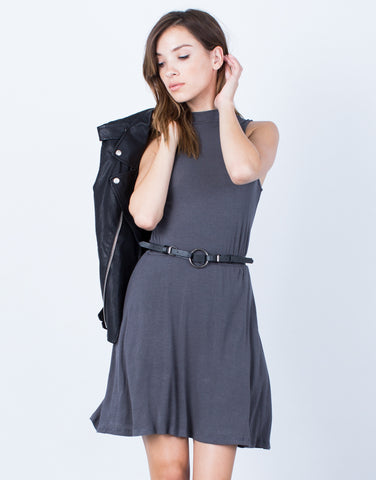 Front View of Ribbed Mock Neck Dress