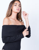 Detail of Ribbed Off-the-Shoulder Bodysuit