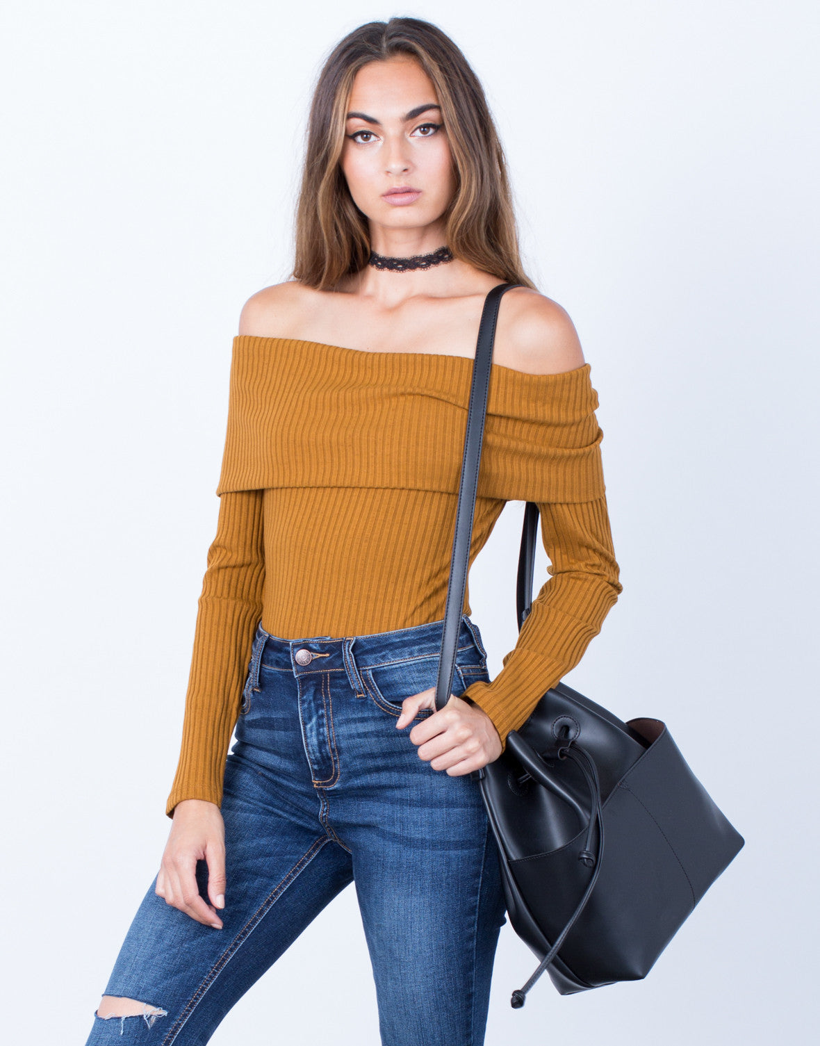 Front View of Ribbed Off-the-Shoulder Bodysuit