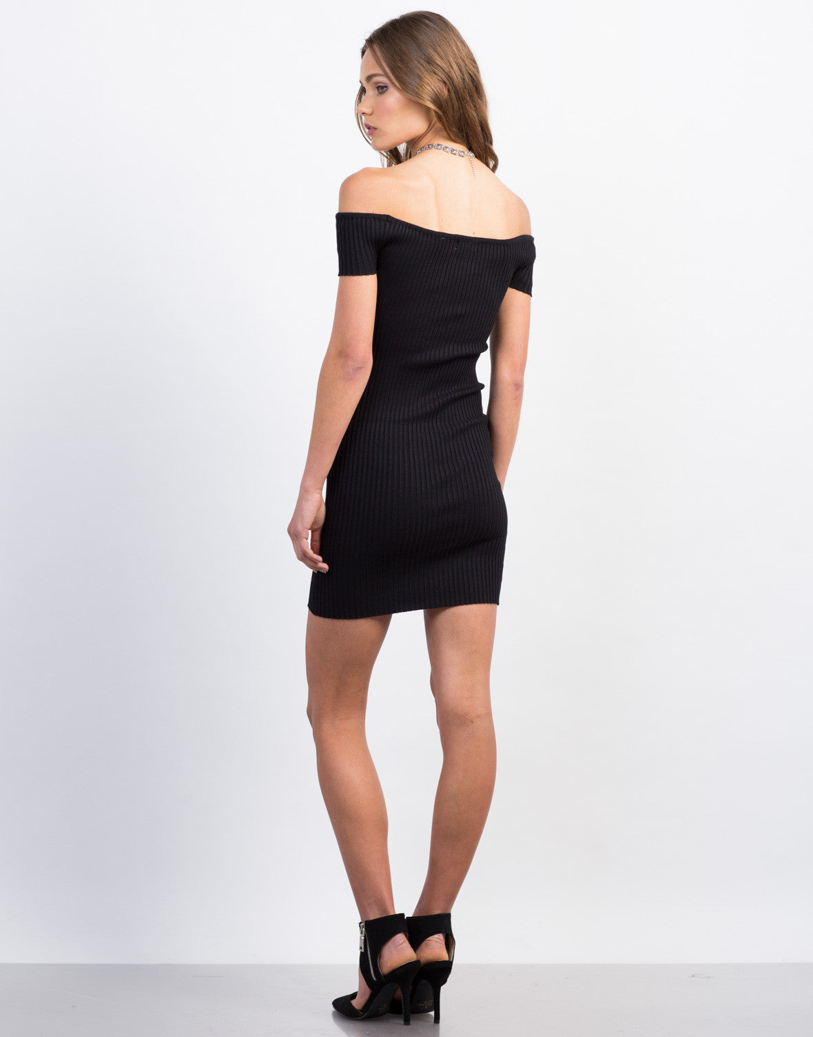 Back View of Ribbed Off The Shoulder Mini Dress
