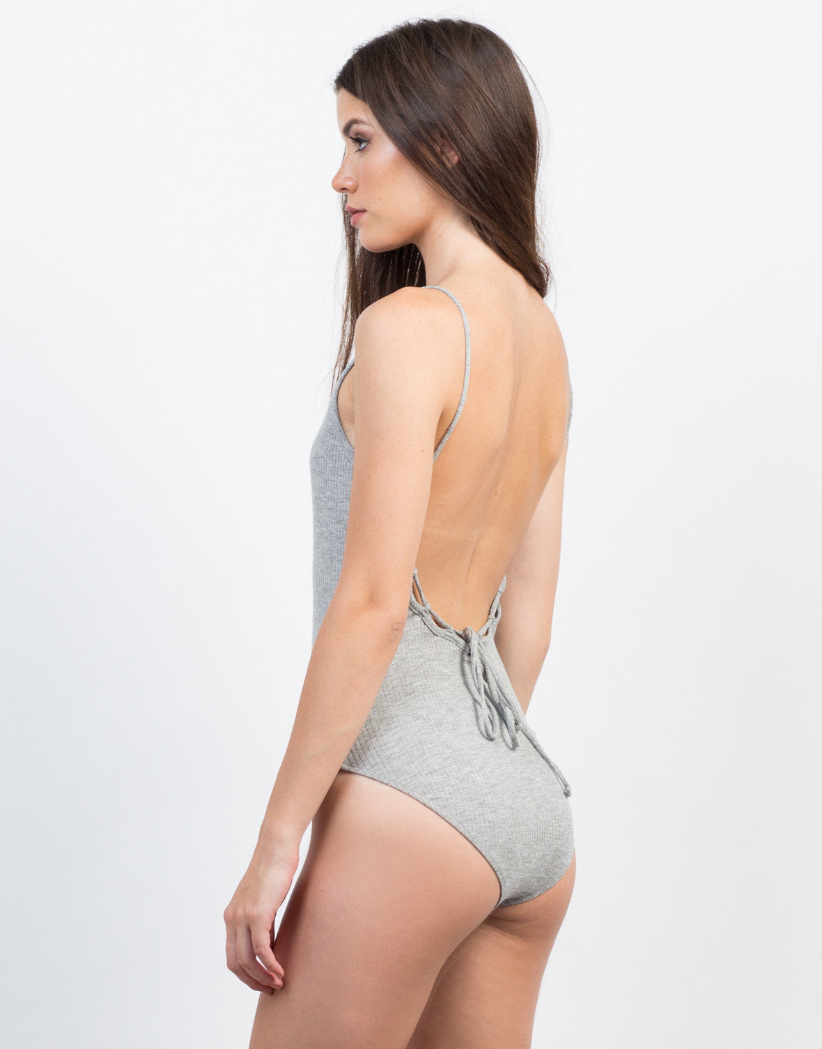 Back View of Ribbed Scoop Back Bodysuit