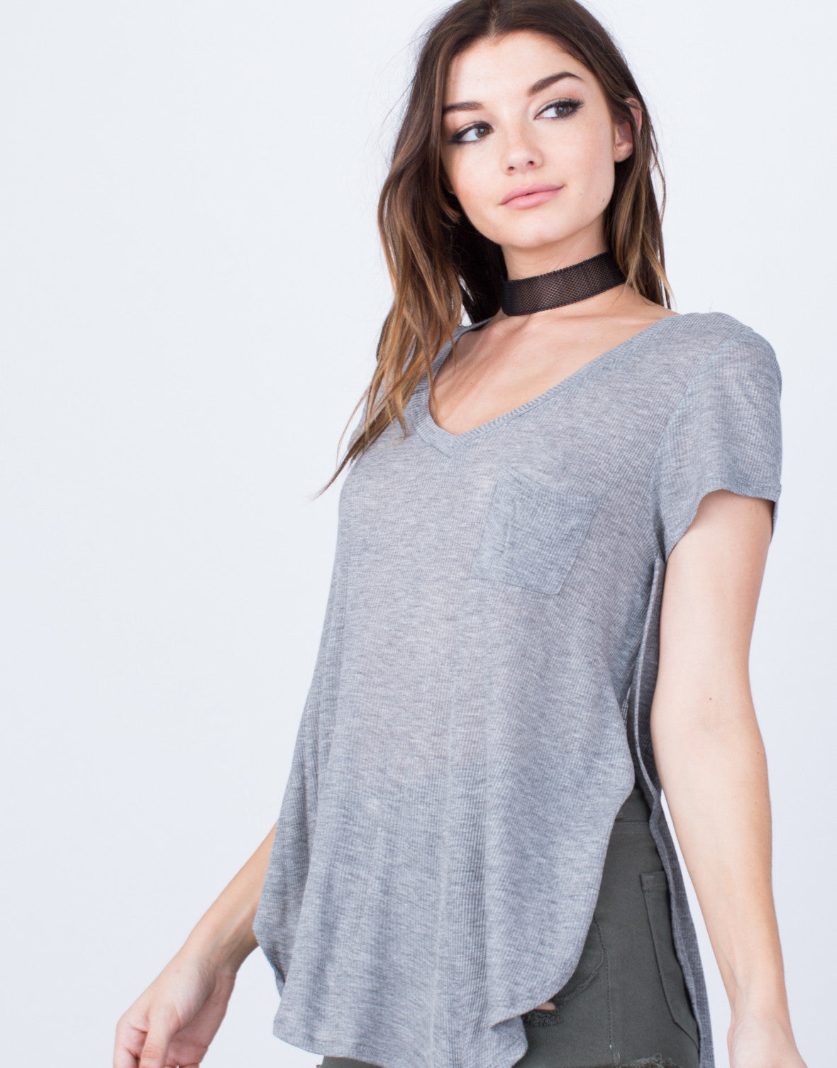 Detail of Ribbed Slit Tee