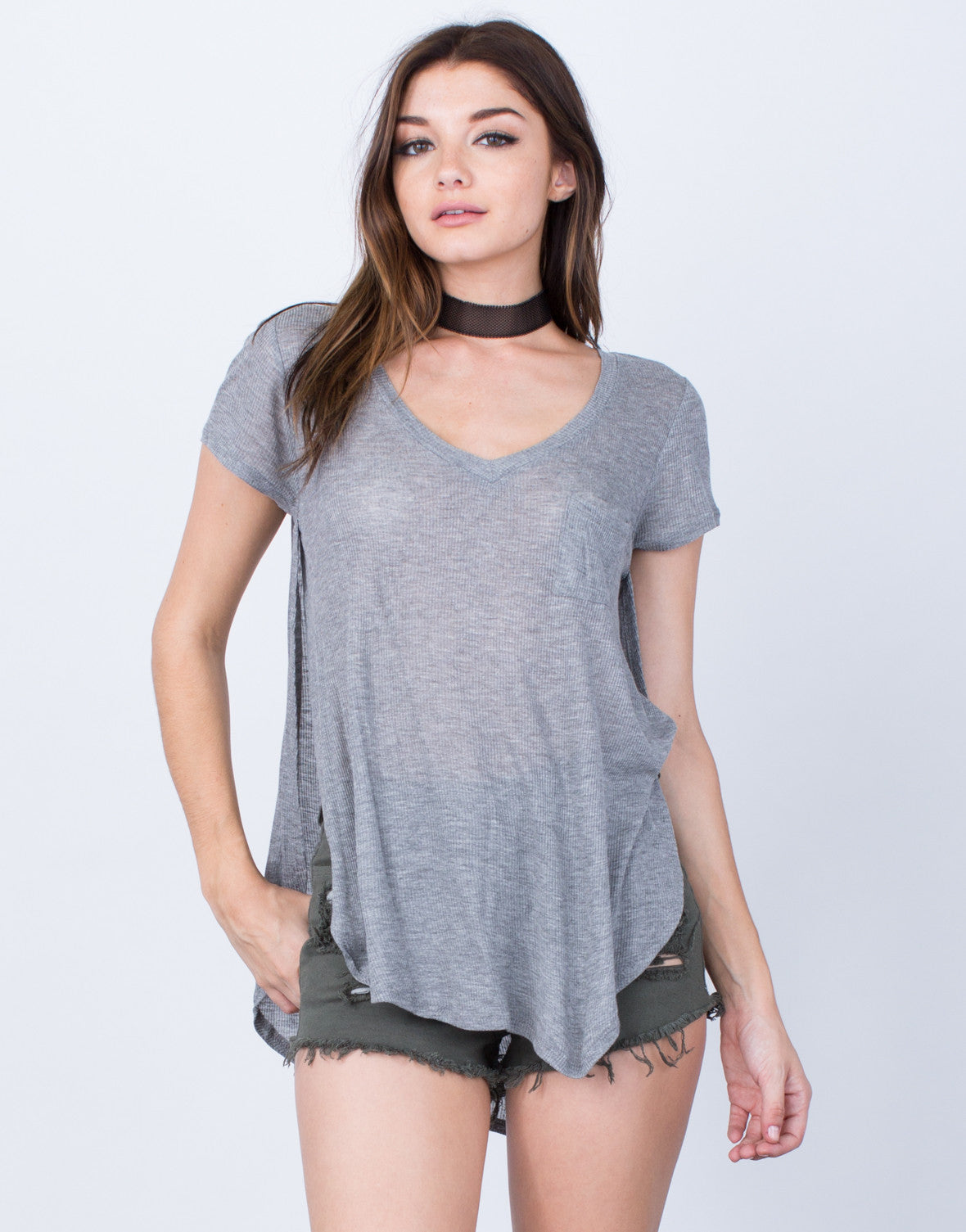 Front View of Ribbed Slit Tee