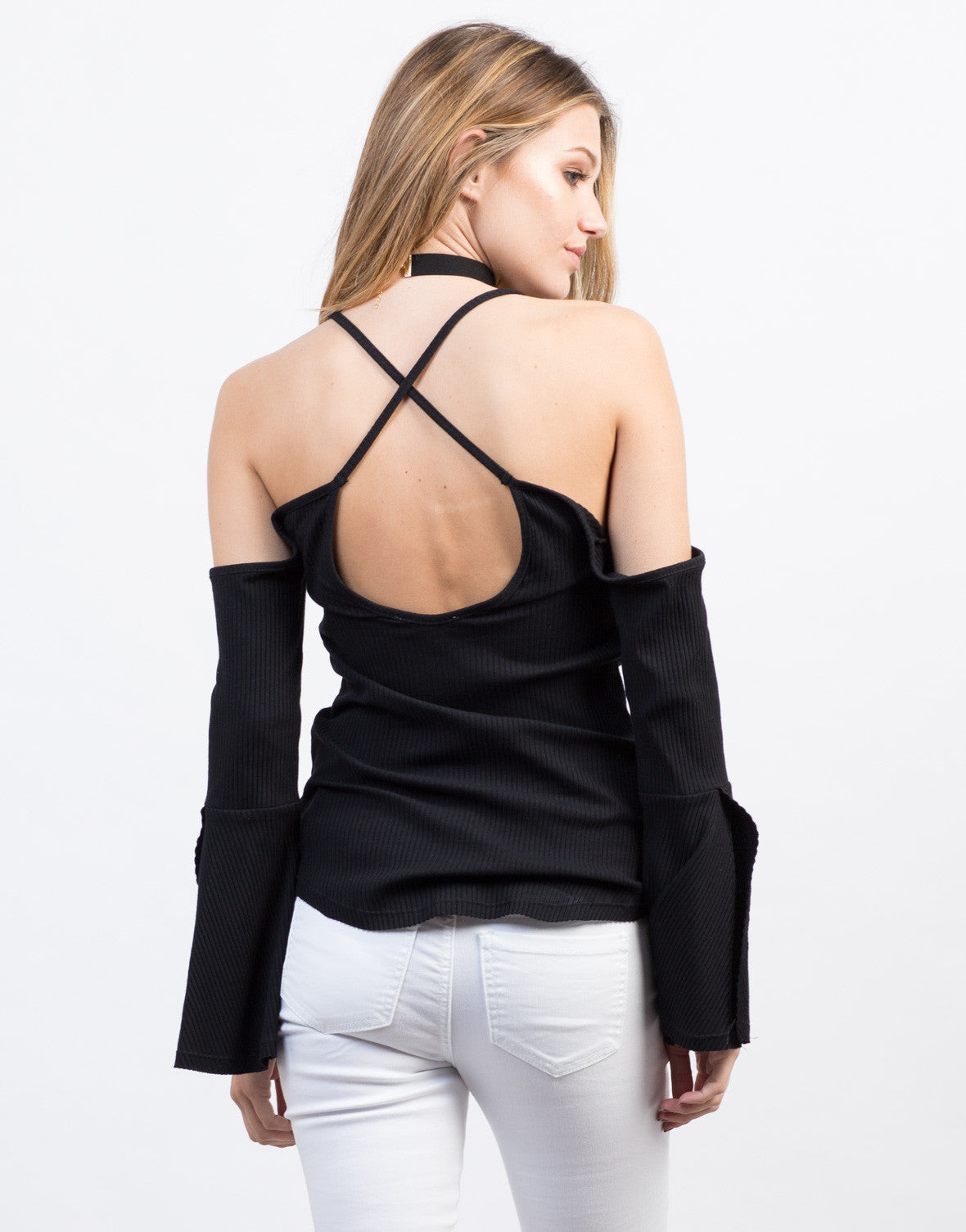 Back View of Ribbed Strappy Bell Sleeved Top