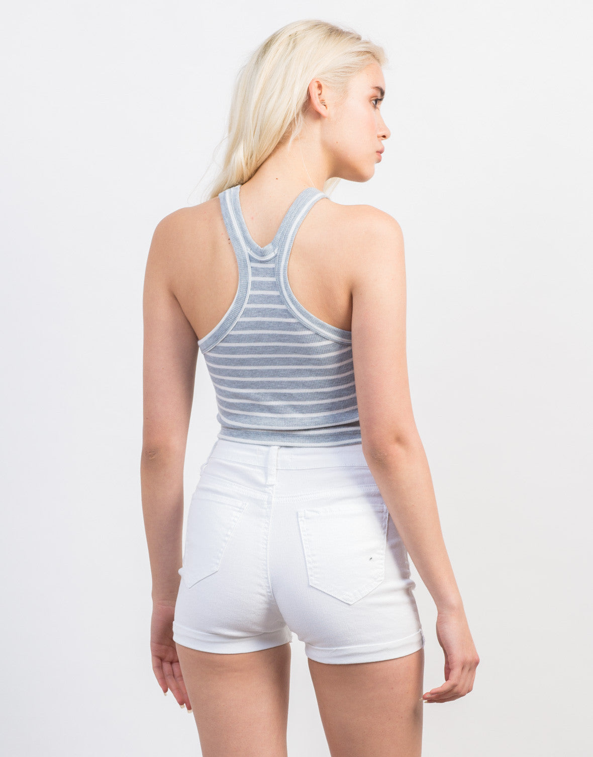 Back View of Ribbed Stripe Cropped Tank