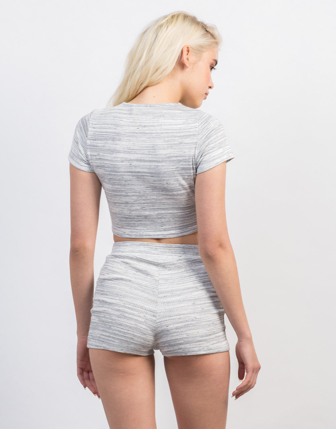 Back View of Ribbed Striped Cropped Tee