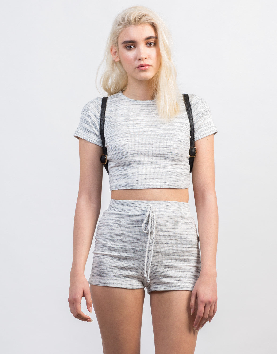 Front View of Ribbed Striped Cropped Tee