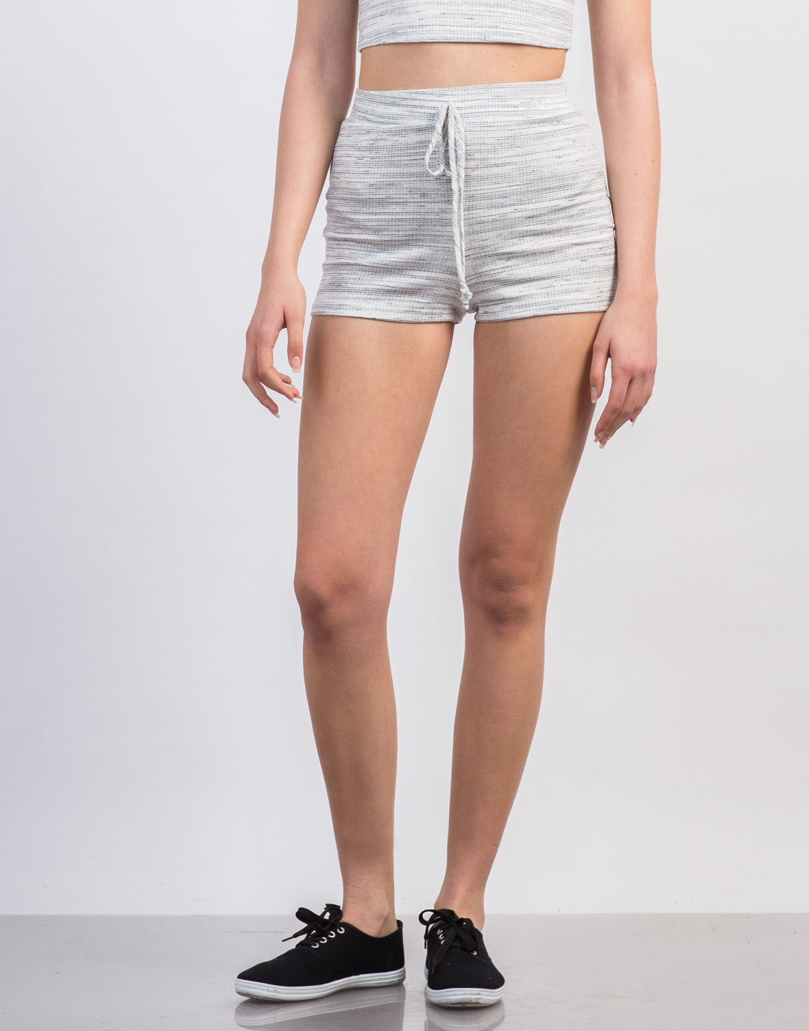 Front View of Ribbed Striped Jogger Shorts